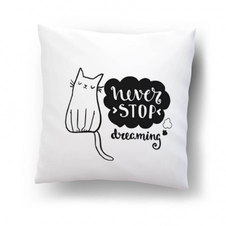 """""""Never stop dreaming""""- poduszka."""