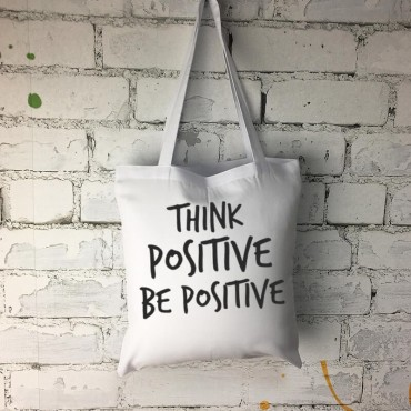 "Super torba z długimi uszami - "" Think positive be positive "" ."