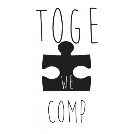 "Koszulka z nadrukiem biała (T-shirt)  ""Together we are complete""."